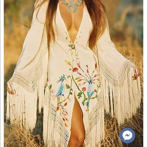 White Tasseled Embroidered Dress